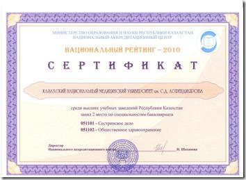 Сертификат НАЦ2010_2 место